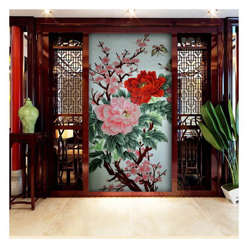 Cool Wall Ideas For Living Room: ZFFM012 Peony Flower Cool Mosaic Art Tiles Living Room